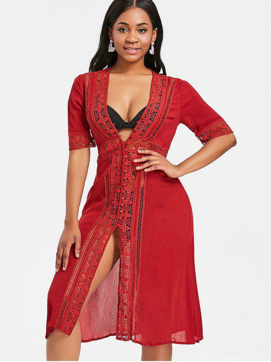 latest Crochet Panel Midi Beach Dress - CRANBERRY L
