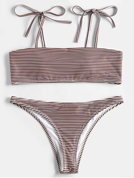 women's Stripe Shoulder Tie Bandeau Bikini Set - COFFEE L