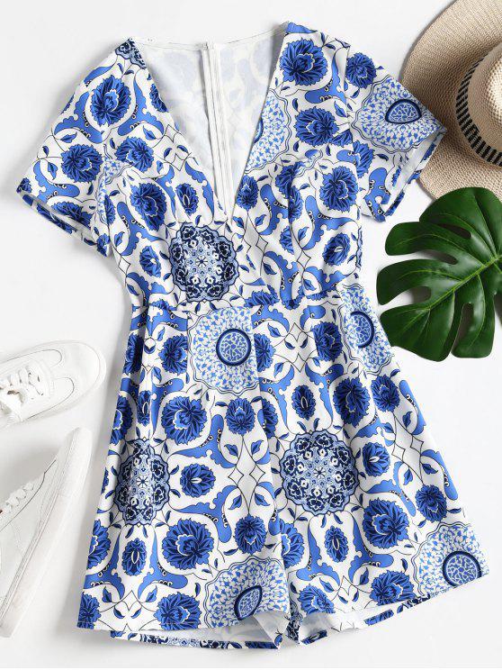 shop Floral Print Low Cut Romper - BLUE S