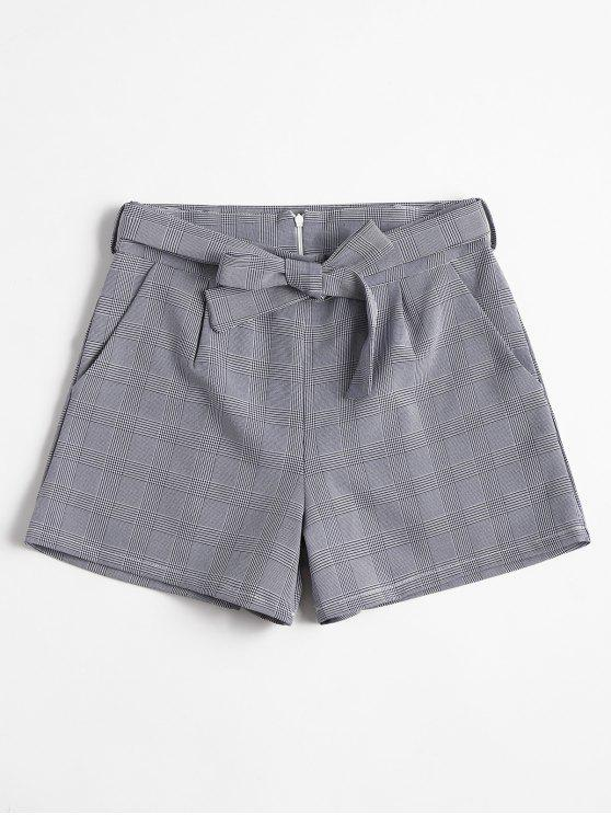 women Belted Plaid Shorts - MIDNIGHT BLUE L