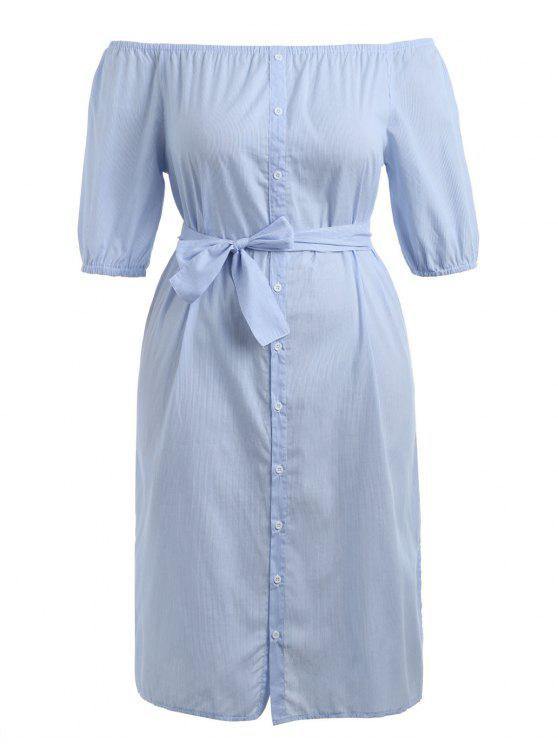 hot Plus Size Striped Belted Dress - LIGHT BLUE 4XL