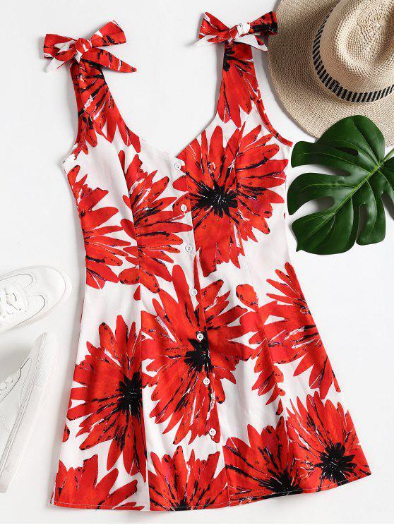 sale Floral Print Open Back Dress - RED L