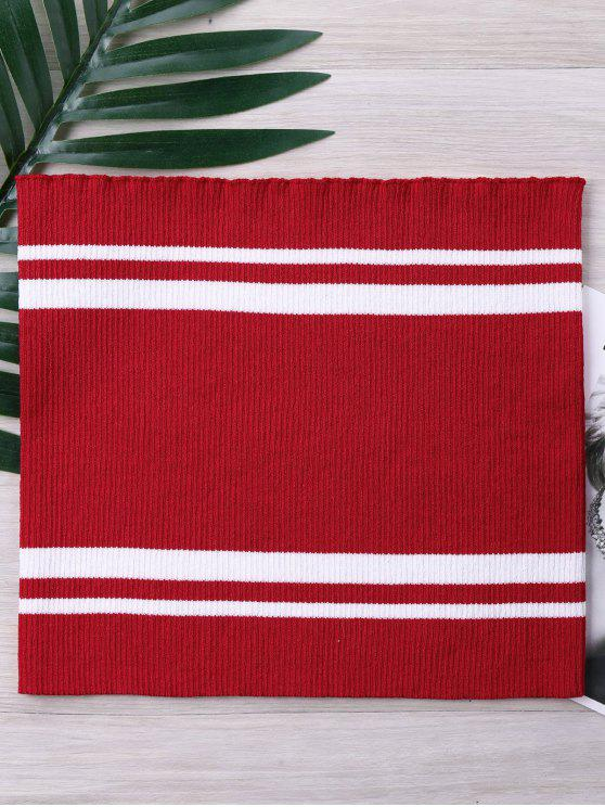 affordable Two Tone Striped Knitted Tube Top - FIRE ENGINE RED XL