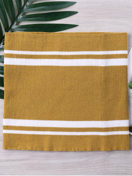 women's Two Tone Striped Knitted Tube Top - GOLDEN BROWN XL