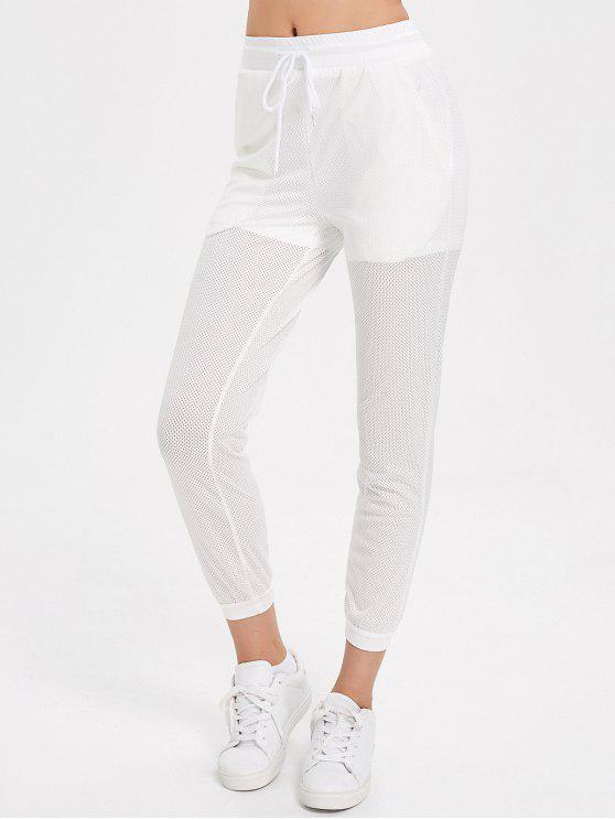 ladies Drawstring Mesh Jogger Pants - WHITE L