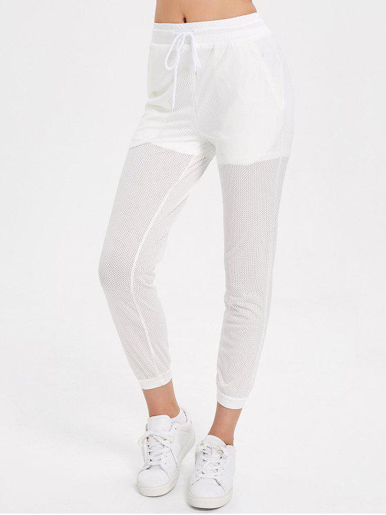 Pantalones Jogger Mesh Drawstring - Blanco M