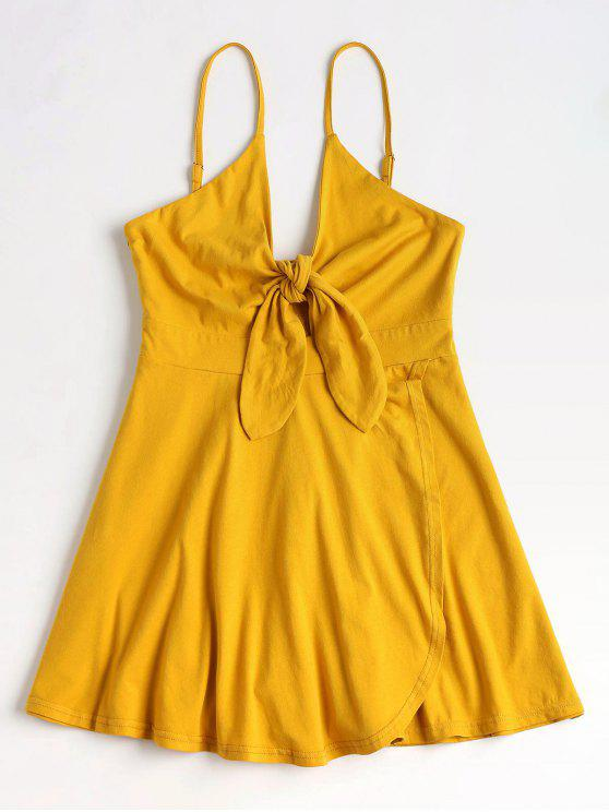 chic Overlap Tie Front Romper - BRIGHT YELLOW XL