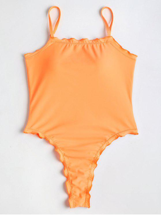 hot Lettuce High Cut One Piece Swimsuit - CANTALOUPE L