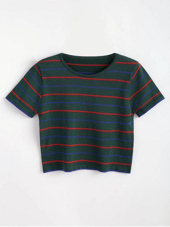 hot Striped Knitted Tee - MEDIUM SEA GREEN ONE SIZE