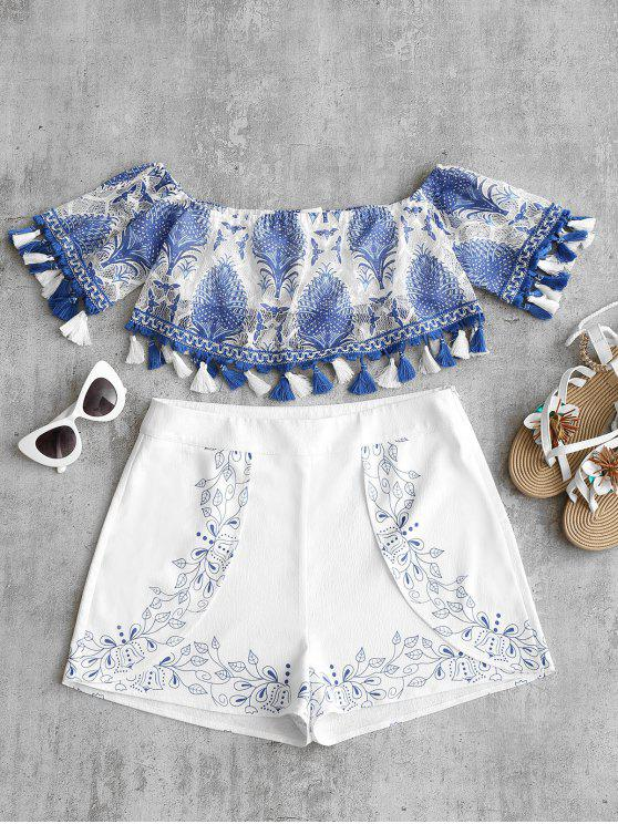 affordable Off Shoulder Printed Tassels Blouse - BLUE M