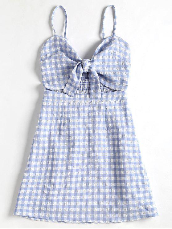 lady Tied Front Plaid Cami Dress - LIGHT BLUE M