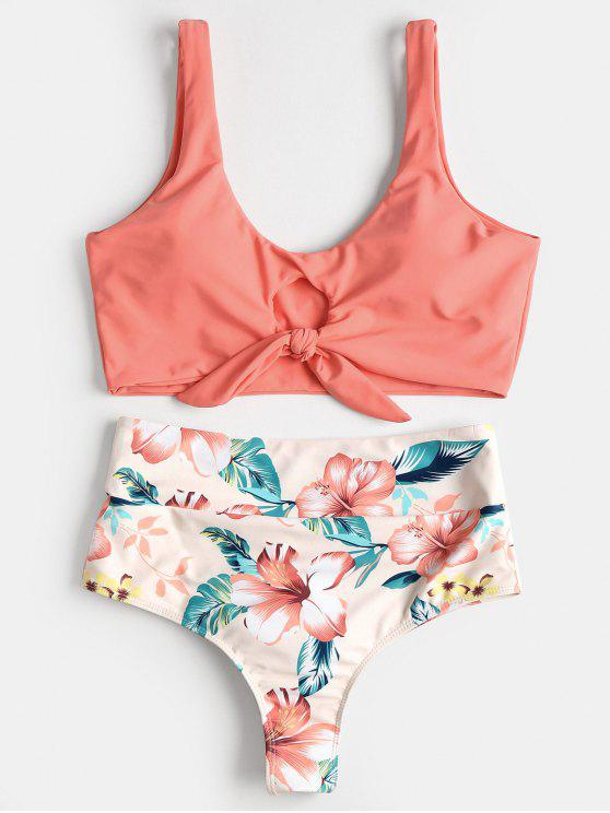women's Knotted Floral Scrunch Butt Bikini Set - WATERMELON PINK L