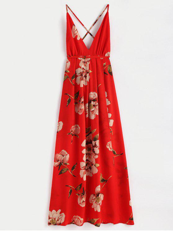 fancy Slit Floral Criss Cross Maxi Dress - RED M