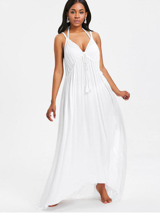 Vestido de playa Maxi sin espalda - Blanco Única Talla