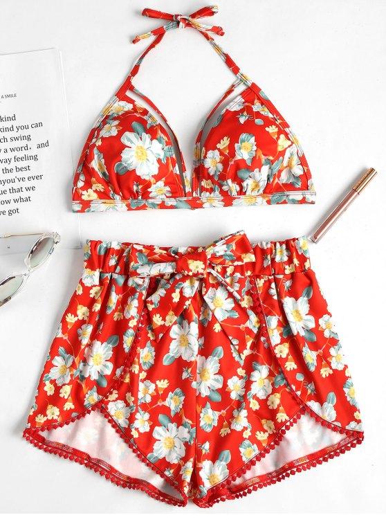 Sutiã Halter Floral vibrante e Shorts - Toranja L