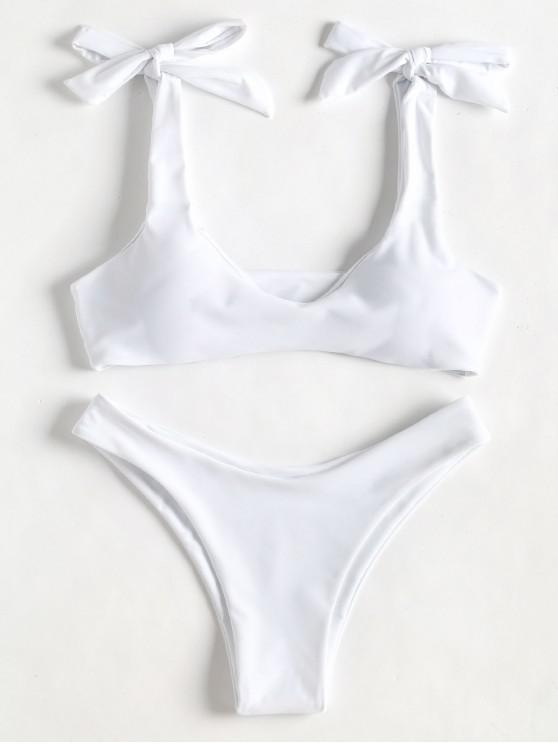 unique Scoop Tie Shoulder Padded Bathing Suit - WHITE M