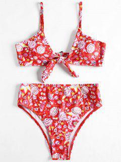 Knotted High Cut Floral Bikini Set - Floral M