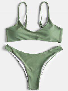 Juego De Bikini De Tanga De Corte Alto - Guisante Verde L