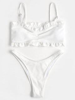 Ribbed Ruffles Bikini Top And High Cut Bottoms - White M