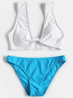 Knotted Two Tone Bathing Suit - Lake Blue M
