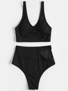 Tauchausschnitt Hoch Taillierter Bikini - Schwarz L