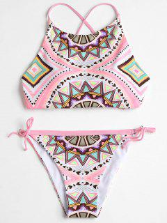 Bikini à Encolure Montante à Motif Géométrique - S