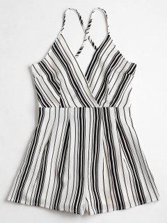 Cami Surplice Striped Beach Romper - Blanco Y Negro S