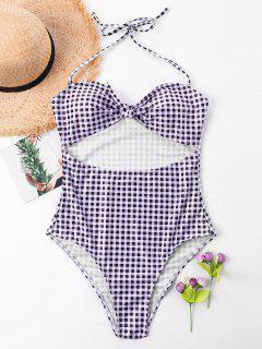 Cut Out Plaid One Piece Swimsuit - Multi L