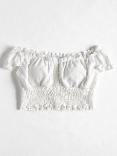 Smocked Off The Shoulder Crop Top - White L