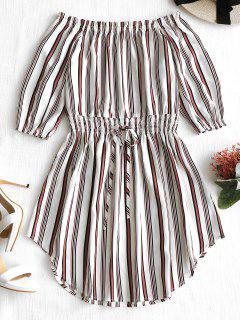 Off The Shoulder Striped Dress - Stripe L
