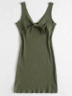 Ribbed Knot Mini Tank Dress - Camouflage Green S