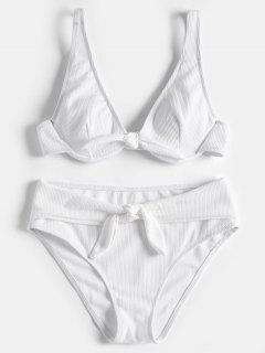 Ensemble De Bikini Étagé Texturé Avec Armature - Blanc M