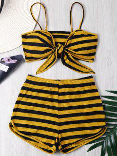 Tie Front Striped Shorts Two Piece Set - Multi S