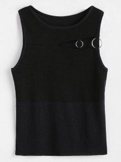 Cut Out Knitted Tank Top - Black
