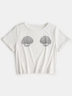 Rolled Up Sleeve Shells Top - White M