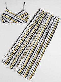 Stripes Cross Over Top And Wide Leg Pants Set - Multi S