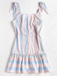 Vestido De Espalda Abierta A Rayas - Multi L