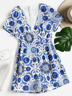 Floral Print Low Cut Romper - Blue L