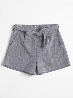 Belted Plaid Shorts - Midnight Blue L