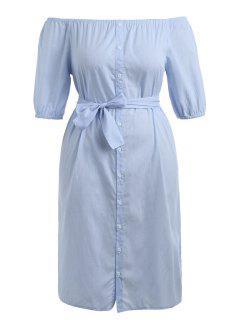 Plus Size Striped Belted Dress - Light Blue 5xl