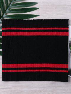 Two Tone Striped Knitted Tube Top - Black L
