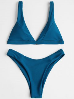 Ensemble Bikini Échancré à Décolleté Plongeant - #2554c7 M