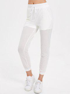 Drawstring Mesh Jogger Pants - White L