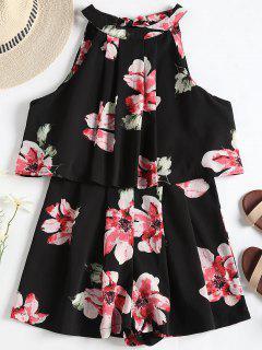 Floral Print Layered Popover Romper - Black L