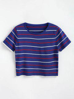 Striped Knitted Tee - Cobalt Blue