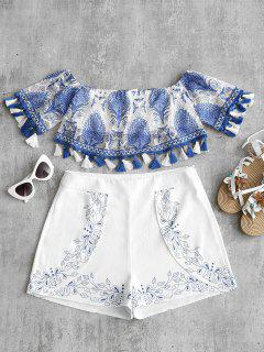 Off Shoulder Printed Tassels Blouse - Blue S