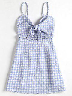 Tied Front Plaid Cami Dress - Light Blue M