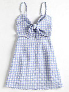 Tied Front Plaid Cami Dress - Light Blue L