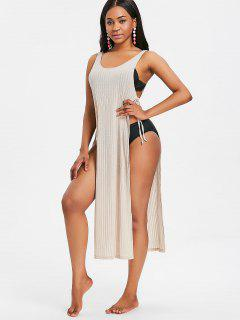 Slit Tie Sides Long Tank Top - Blonde S