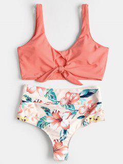 Knotted Floral Scrunch Butt Bikini Set - Watermelon Pink S
